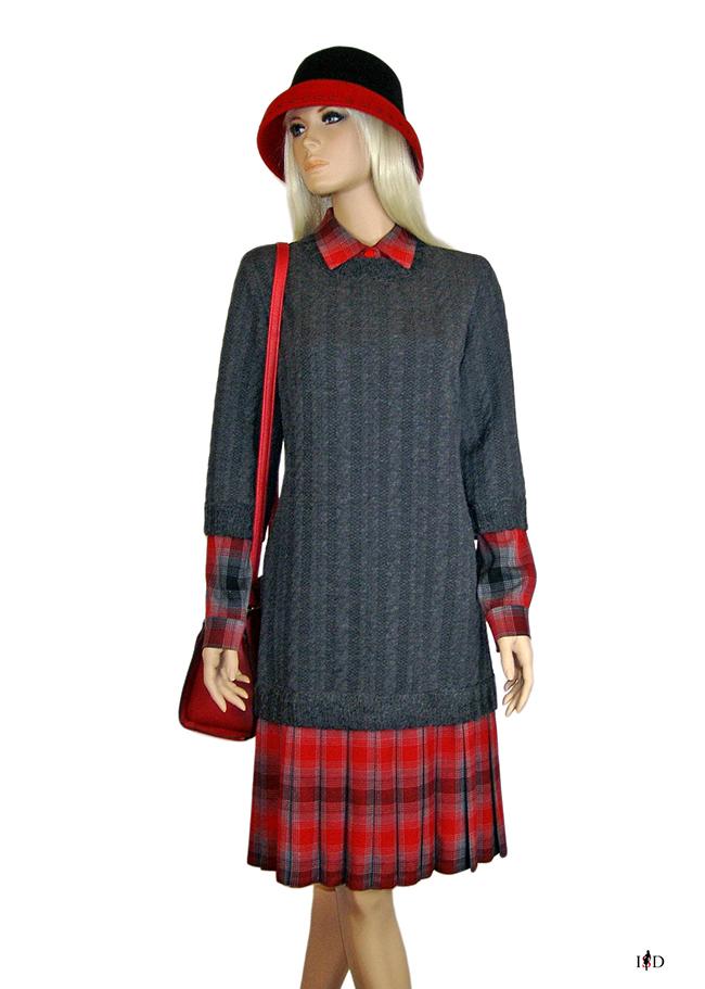 lagenlook pulloverkleid rot-grau