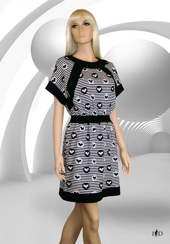 Jersey Sommer Blenden Kleid Herzchen gestreift