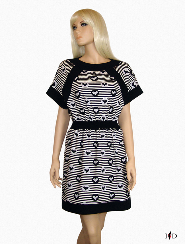 Designer Jersey Sommer Blenden Kleid Herzchen gestreift
