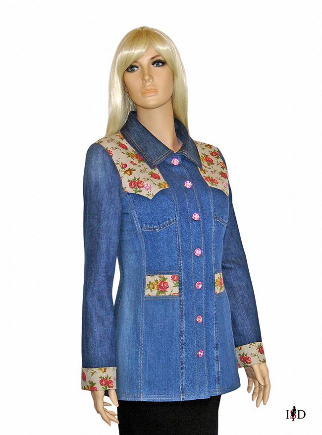 designer Jeansjacke mit Leinenstoff Besatz