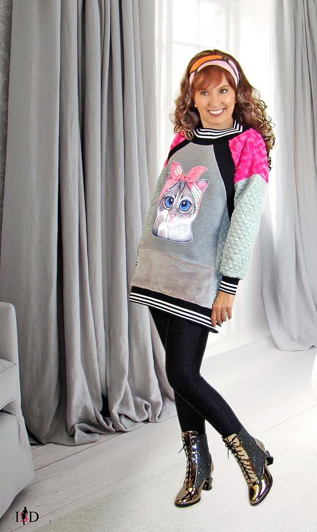 designer sweater patchwork look 3d applikation