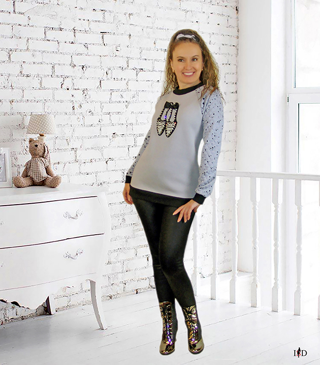designer Damen Sweatshirt mit 3D Applikation