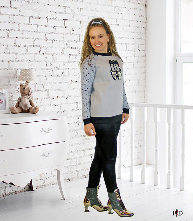 damen sweatshirt mit 3d applikation