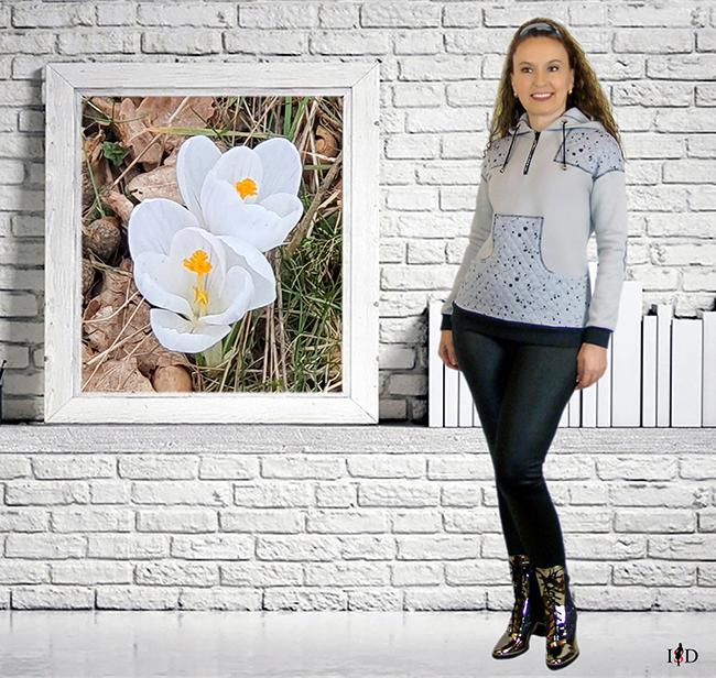 designer damen hoodie patchwork look