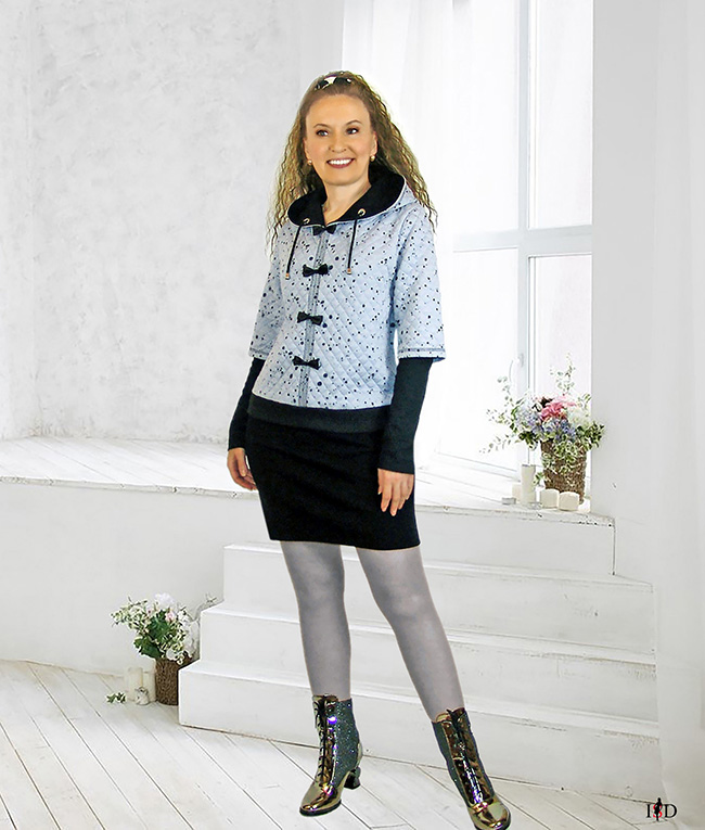 designer damen hoodie lagenlook gesteppt