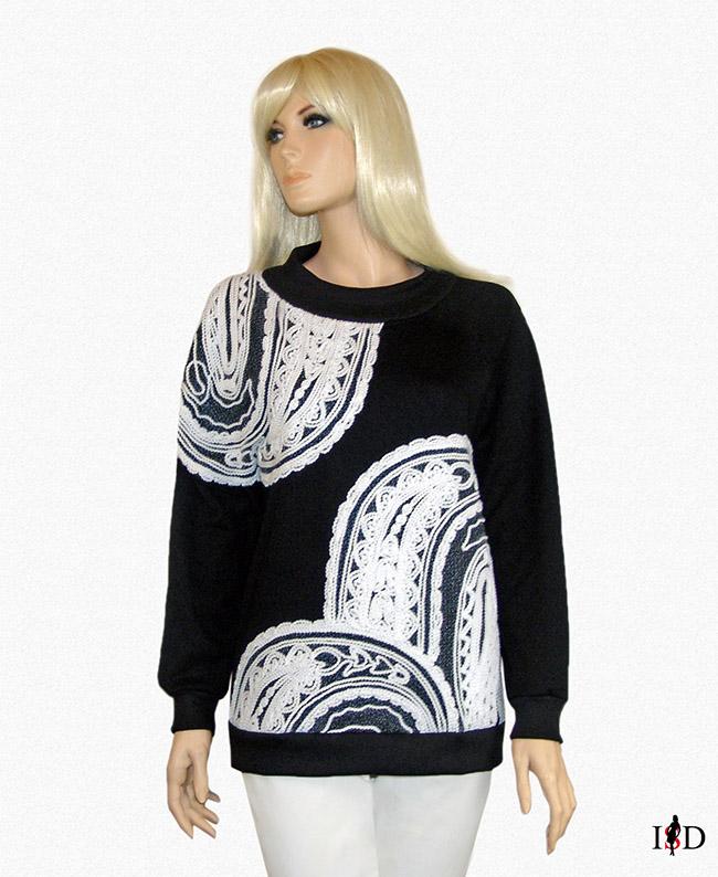 Sweatshirt French-Terry mit Fadenstickerei schwarz