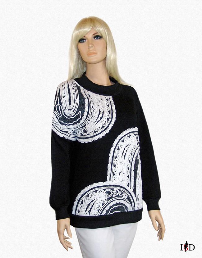 Sweatshirt French-Terry mit Fadenstickerei,Designer schirt